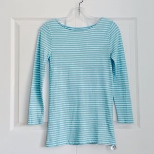 J.Crew Blue & White Striped 3/4 Sleeve Painter Tee